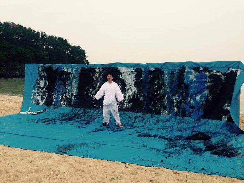 """青い,Langage """"bleu"""" ,壱岐,書道,作品,展示,大浜海水浴場,TROLLWORKS,書道家"""