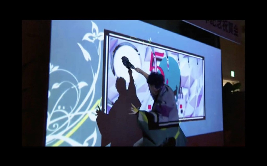 焼肉 大昌園 50周年 パーティー 書道パフォーマンス 書道家 山口芳水 × プロジェクションマッピング 映像 西英行